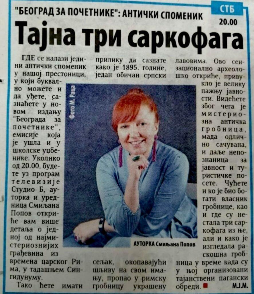 TRI SARKOFAGA – Najava za emisiju Beograd za početnike